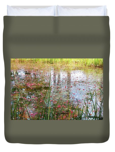Duvet Cover featuring the photograph Red Leaves Have Fallen by Michelle Calkins