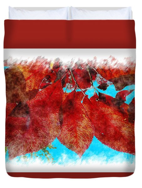 Duvet Cover featuring the photograph Red Leaves by Jean Bernard Roussilhe