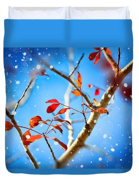 Red Leaves On Blue Background Duvet Cover