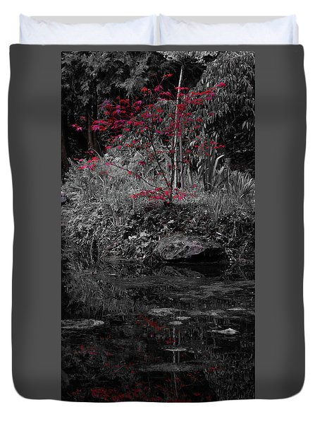 Duvet Cover featuring the photograph Red Leaves Reflected by Scott Lyons