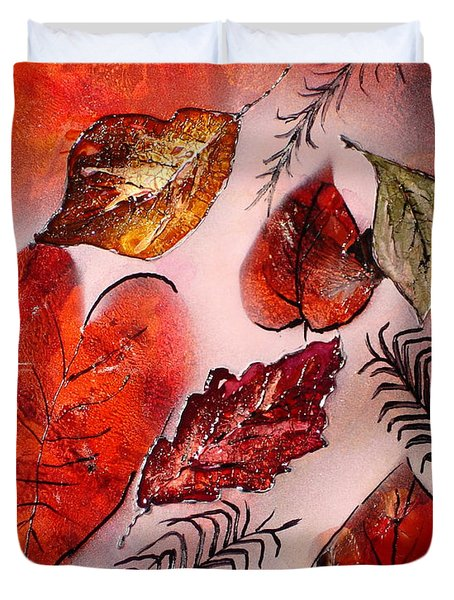 Red Leaves Duvet Cover by Susan Kubes
