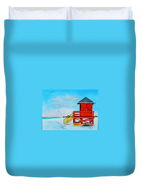 Red Life Guard Shack On The Key Duvet Cover