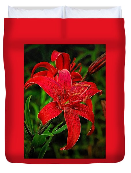 Red Lily Duvet Cover