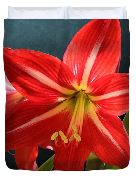Red Lily Flower Trio Duvet Cover