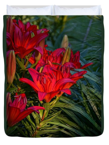 Red Lily Duvet Cover by Steven Clipperton