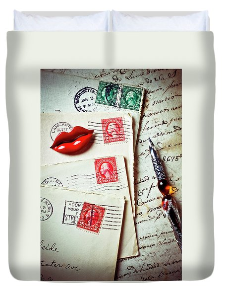 Red Lips Pin And Old Letters Duvet Cover by Garry Gay