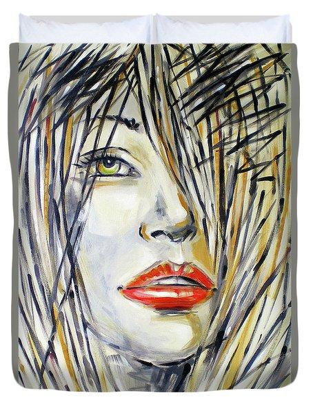 Red Lipstick 081208 Duvet Cover by Selena Boron