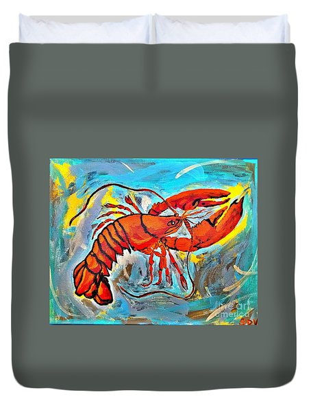 Red Lobster Abstract  Duvet Cover by Scott D Van Osdol