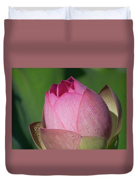 Red Lotus Blossom Duvet Cover