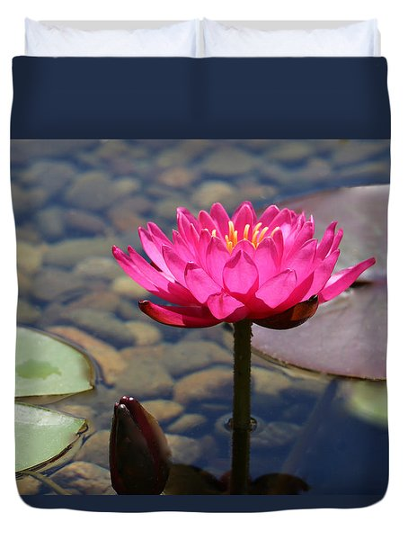 Duvet Cover featuring the photograph Red Lotus by Debra     Vatalaro