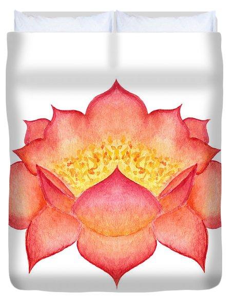 Red Lotus Duvet Cover