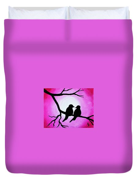 Red Love Birds Silhouette Duvet Cover