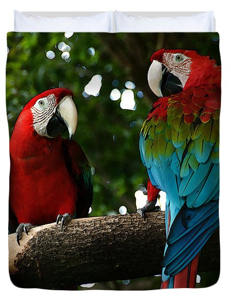 Red Macaws Duvet Cover