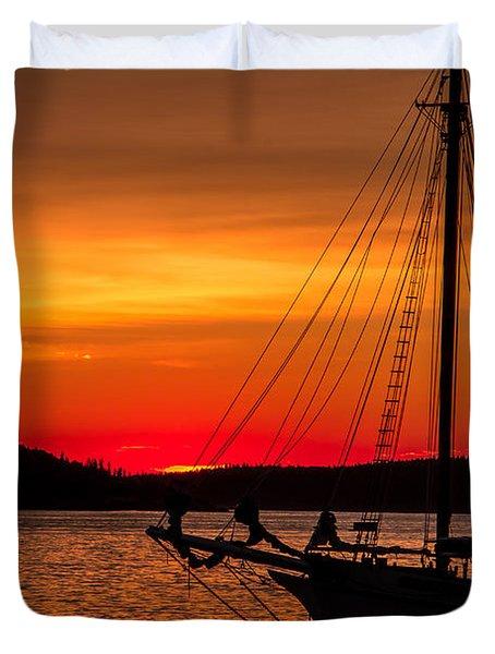 Red Maine Sunrise Duvet Cover