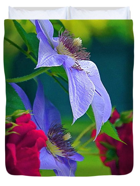 Red Meets Lavender Duvet Cover