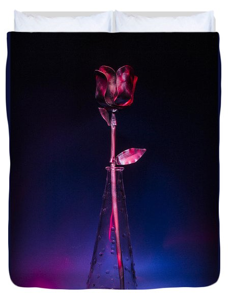 Red Metal Rose Duvet Cover