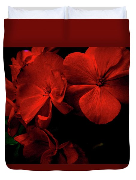 Red  Midnight Magic Flowers Duvet Cover