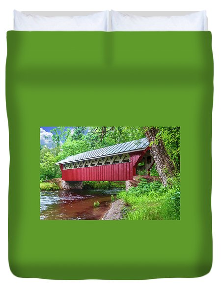 Red Mill Covered Bridge Duvet Cover
