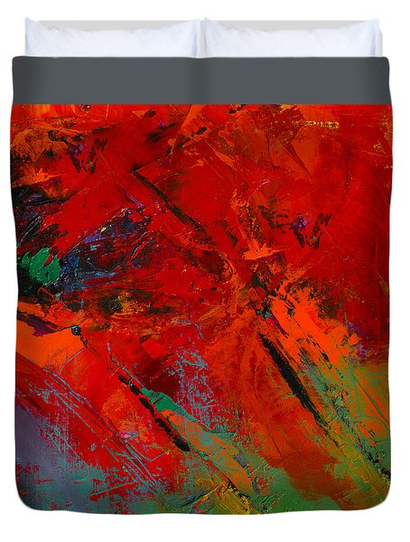 Duvet Cover featuring the painting Red Mood by Elise Palmigiani