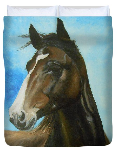 Duvet Cover featuring the painting Red Moon by Jane See