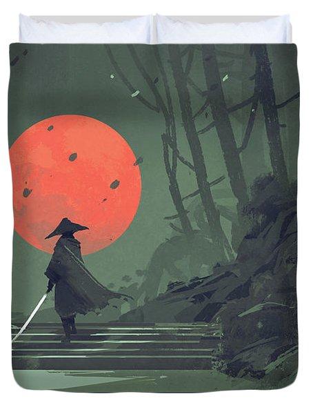 Red Moon Night Duvet Cover