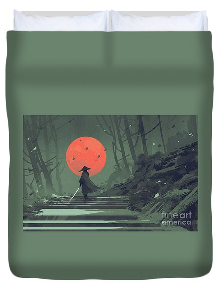 Red Moon Night Duvet Cover
