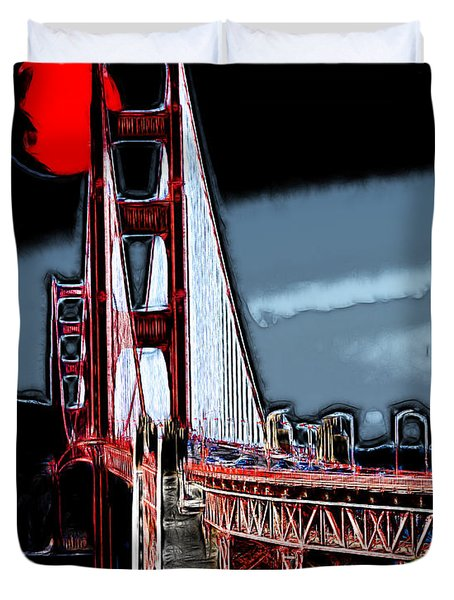 Red Moon Over The Golden Gate Bridge Duvet Cover by Wingsdomain Art and Photography