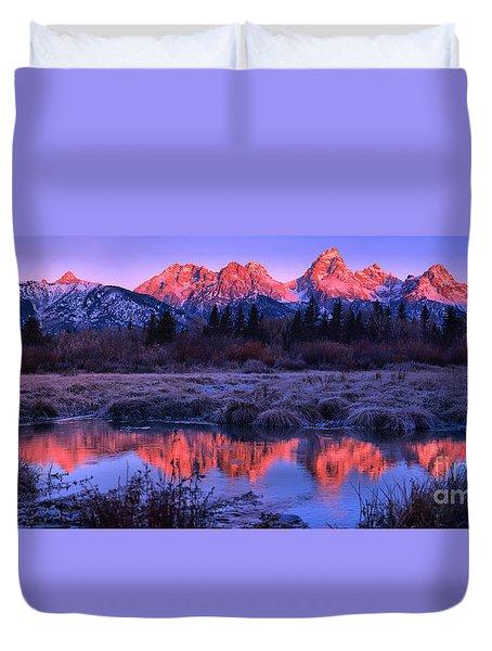 Red Morning Teton Peaks Panorama Duvet Cover
