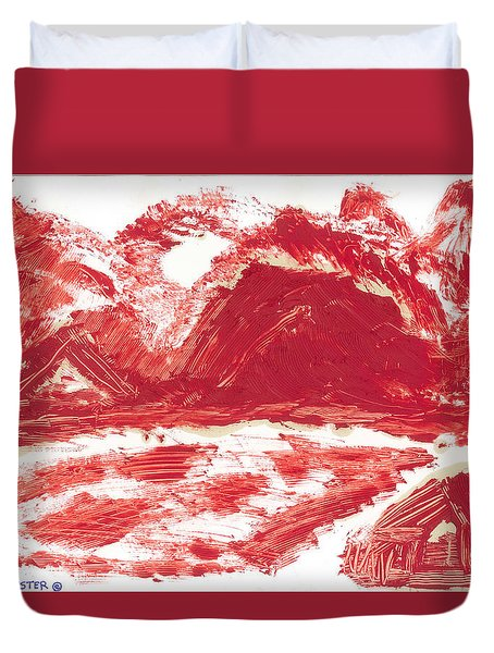 Duvet Cover featuring the painting Red Mountain by Don Koester