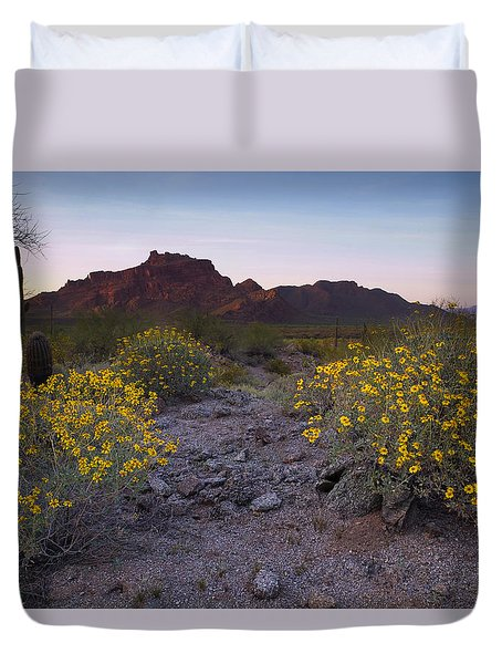 Red Mountain Dusk Duvet Cover by Sue Cullumber