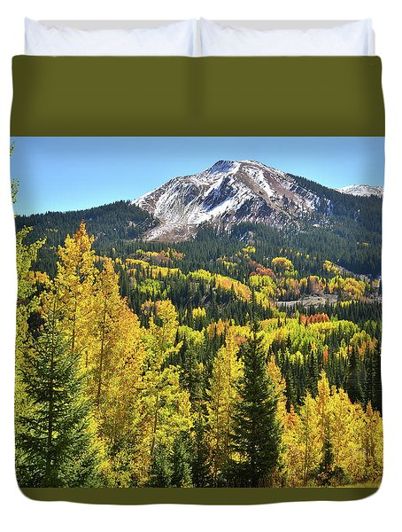 Duvet Cover featuring the photograph Red Mountain Fall Color by Ray Mathis