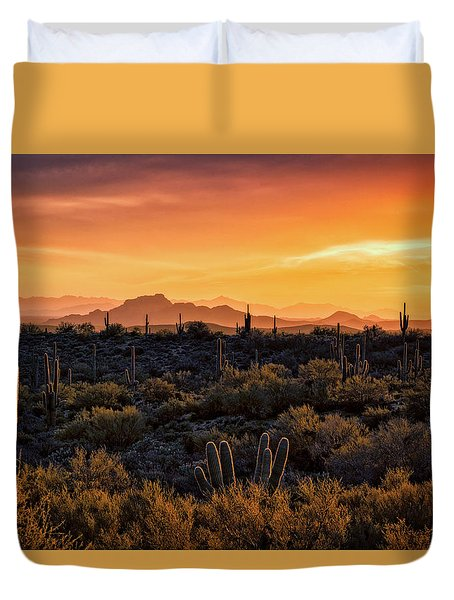 Duvet Cover featuring the photograph Red Mountain Sunset Part Two  by Saija Lehtonen