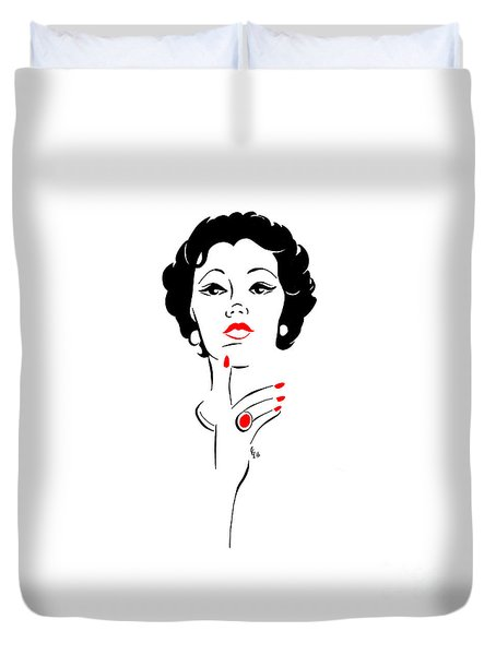 Duvet Cover featuring the digital art Red Nails Red Lips by Cindy Garber Iverson