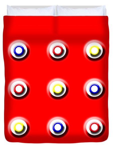Red Nine Squared Duvet Cover