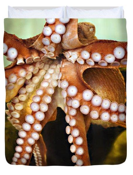 Red Octopus Duvet Cover