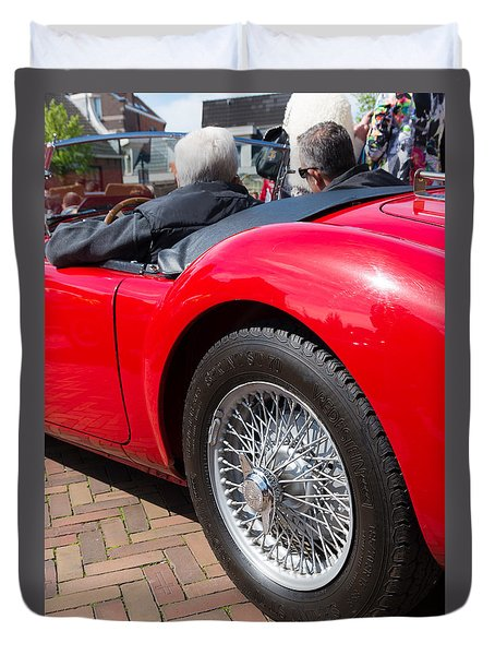Duvet Cover featuring the photograph Red Oldtimer by Hans Engbers