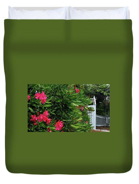 Duvet Cover featuring the photograph Red Oleander Arbor by Marie Hicks