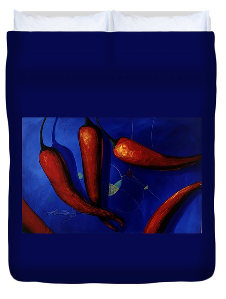Red On Blue Duvet Cover