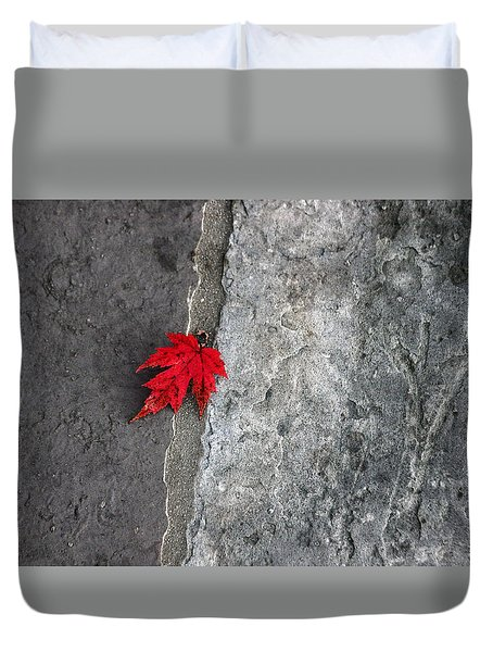 Red On Gray Duvet Cover