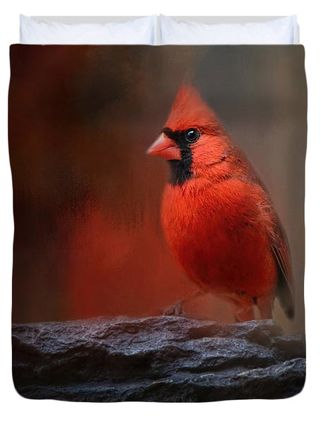 Red On The Rocks - Cardinal Bird Art Duvet Cover