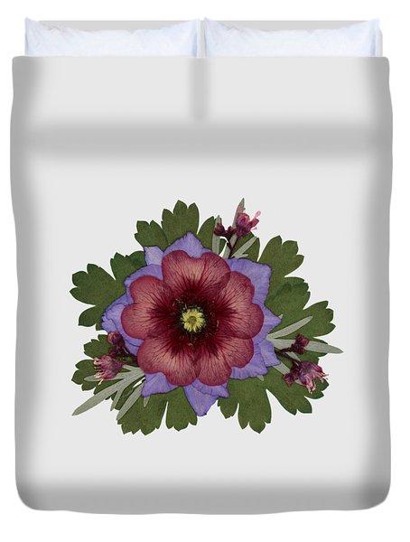 Red Open Faced Potentilla Pressed Flower Arrangement Duvet Cover
