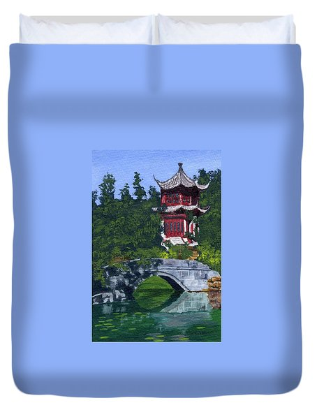 Duvet Cover featuring the painting Red Pagoda by Lynne Reichhart