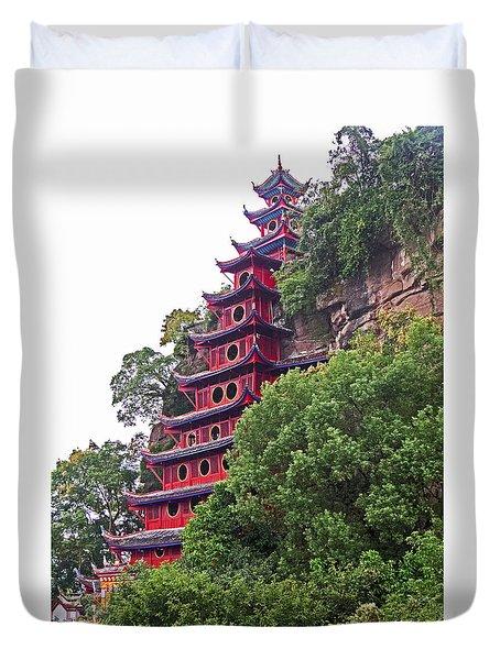 Red Pagoda Duvet Cover