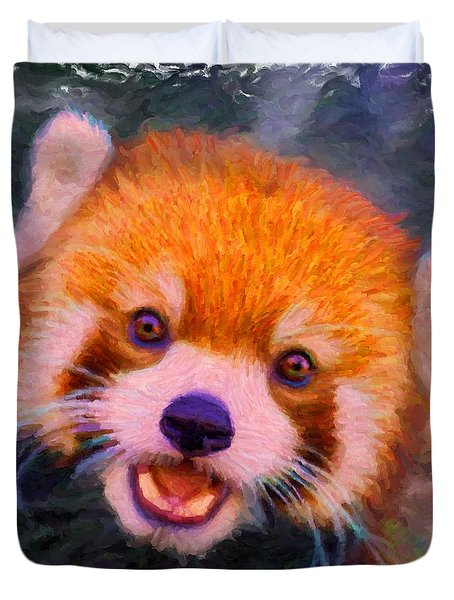 Red Panda Cub Duvet Cover