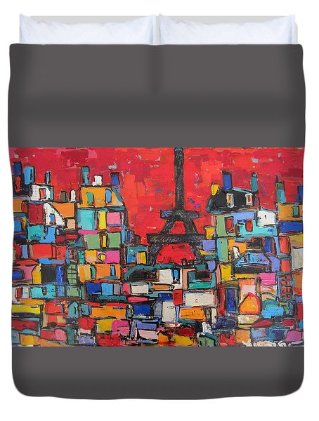 Red Paris Eiffel  Duvet Cover