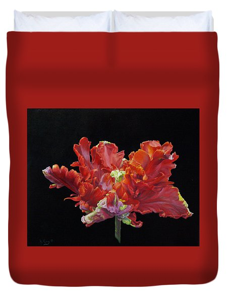 Red Parrot Tulip - Oils Duvet Cover by Roena King