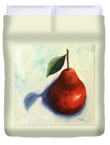 Red Pear In The Spotlight Duvet Cover