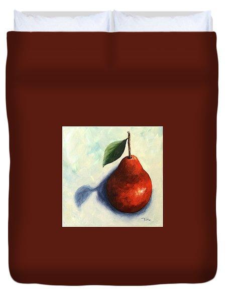 Red Pear In The Spotlight Duvet Cover by Torrie Smiley