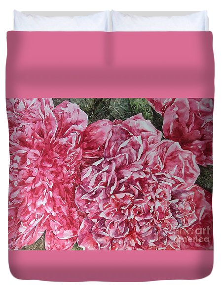 Red Peonies Duvet Cover