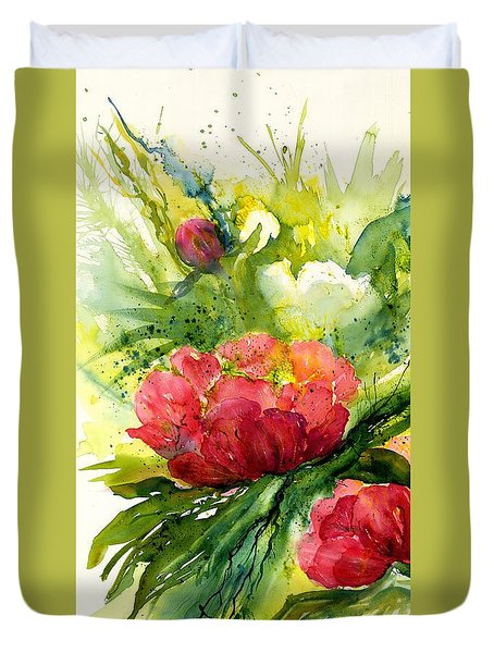 Red And White Peony Flowers Duvet Cover